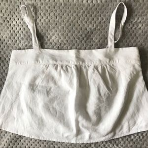 Abercrombie & Fitch White Linen Blend Crop Top